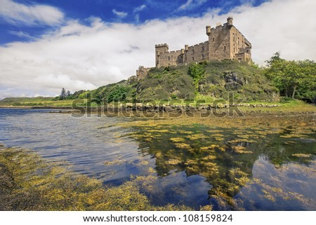Dunvegan castle on the Isle of Skye - the seat of the MacLeod of MacLeod, Scotland - stock photo
