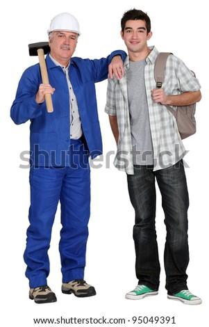duo of carpenters - stock photo