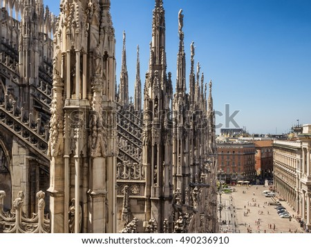 Duomo cathedral in Milan, detail from the top, Italy