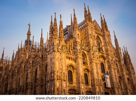 Duomo di Milano, Cathedral of Milan, Italy. Toned picture - stock photo