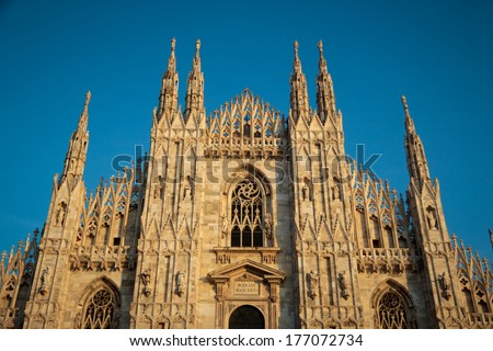 Duomo di Milano is the Gothic Cathedral Church of Milan, Italy - stock photo