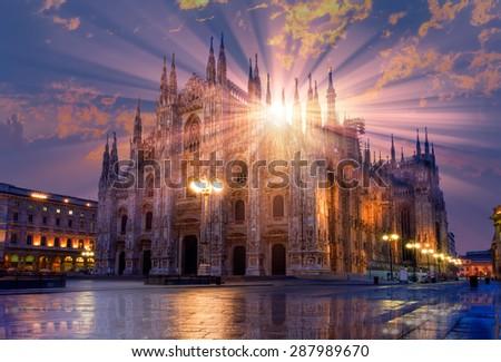 Duomo di Milano (Milan Cathedral) and Piazza del Duomo in Milan - stock photo