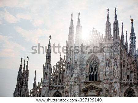 Duomo di Milano (Milan Cathedral) and Piazza del Duomo in the Morning, Milan, Italy - stock photo