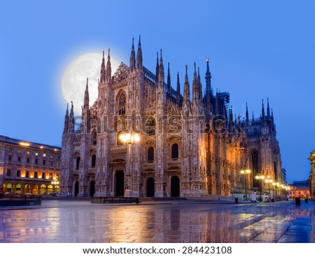 Duomo di Milano (Milan Cathedral) and Piazza del Duomo in the Morning, Milan, Italy Elements of this image furnished by NASA. - stock photo