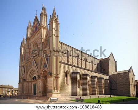 Duomo di Orvieto,cathedral. Decorated facade, Umbria, Italy - stock photo