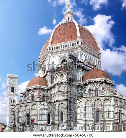 Duomo Santa Maria Del Fiore and Campanile. Florence, Italy - stock photo