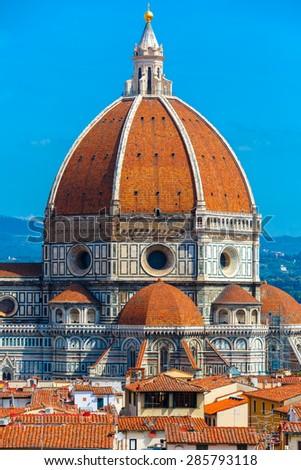 Duomo Santa Maria Del Fiore at morning from Palazzo Vecchio in Florence, Tuscany, Italy - stock photo