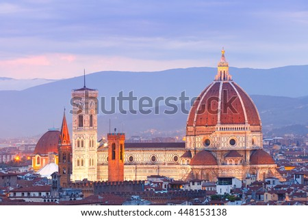 Duomo Santa Maria Del Fiore at nihjt from Piazzale Michelangelo in Florence, Tuscany, Italy - stock photo