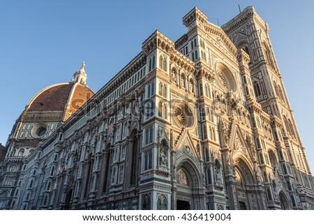 Duomo Santa Maria Del Fiore (Duomo florence) with strong evening light - stock photo