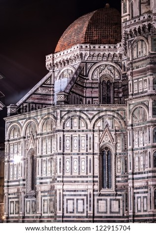 Duomo Santa Maria Del Fiore . Florence, Italy .Historic Centre of Florence is on UNESCO World Heritage List. - stock photo