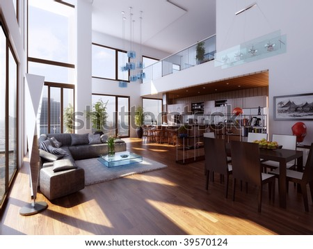 Duplex interior - stock photo