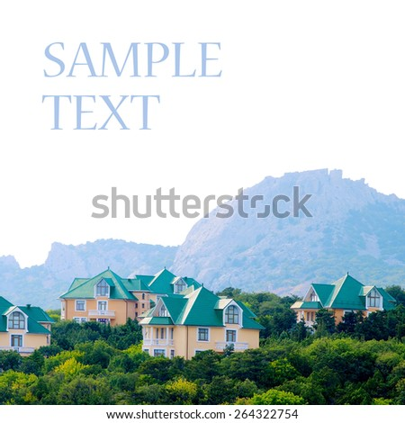 Duplex-type houses isolated on white background. - stock photo