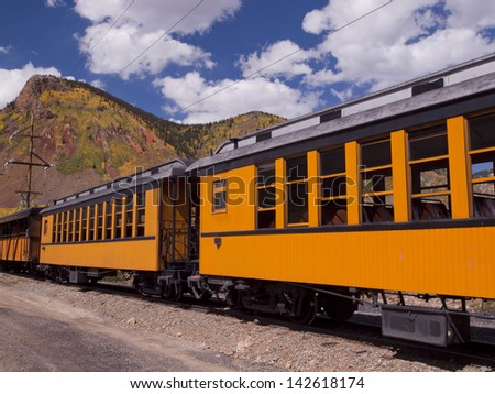 Durango to Silverton Narrow Gauge Train.  This train is in daily operation on the narrow gauge railroad between Durango and Silverton Colorado - stock photo