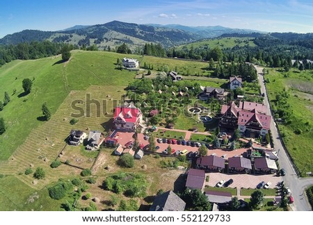 Durau mountain resort in Neamt, Romania. aerial view from drone