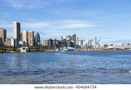 DURBAN, SOUTH AFRICA - APRIL,8, 2016: View of harbor and city skyline From Wilsons Wharf  in Durban South Africa