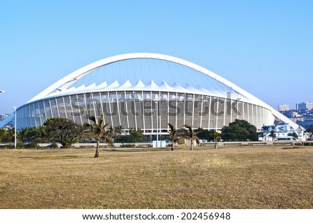 DURBAN, SOUTH AFRICA - JULY 2, 2014: Moses Mabhida football stadium in Durban, South Africa