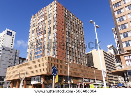 DURBAN, SOUTH AFRICA : MARCH 23, 2016: Early morning close up of  commercial and residential buildings on Golden Mile beachfront in Durban, South Africa