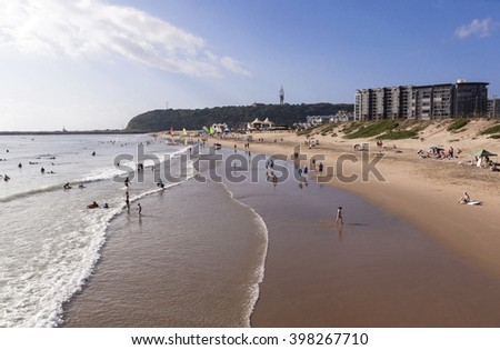 DURBAN, SOUTH AFRICA ; MARCH 28, 2016:Many unknown early morning visitors on Vetch's beach in Durban South Africa
