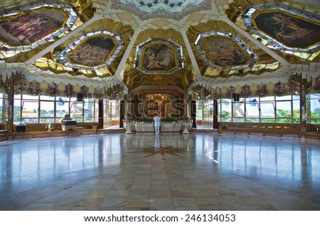 Durban, South Africa - March 10 2010: The inside of the Krishna temple in the Chats Wort indian quarter