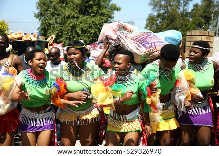 DURBAN, SOUTH AFRICA - October 22: Zulu women sing and dance at a traditional Zulu wedding ceremony in Kwa Zulu Natal, South Africa on October 22, 2016.