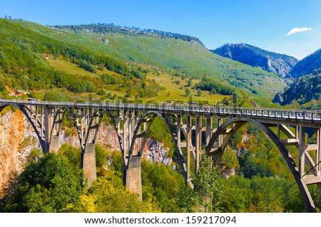 Durdevica Tara Bridge on Tara River, a concrete arch bridge over the Tara River in northern Montenegro - stock photo