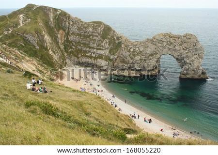 Durdle Door arch in Dorset - stock photo