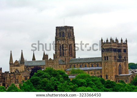 DURHAM - JUNE 14 : Cathedral at 14 June 2015 in Durham, England. Durham Cathedral is seat of the Anglican Bishop of Durham and a UNESCO World Heritage site.