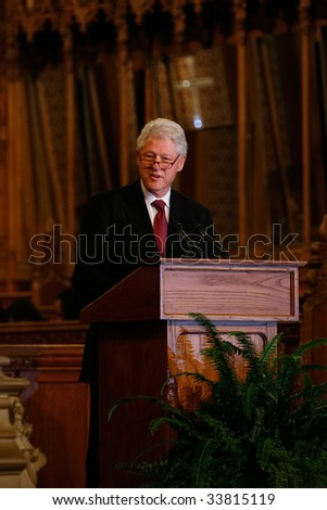 DURHAM, NORTH CAROLINA-JUNE 11: President Bill Clinton speaks at Duke Chapel ceremony on June 11, 2009 in Durham, North Carolina in Durham, North Carolina. - stock photo