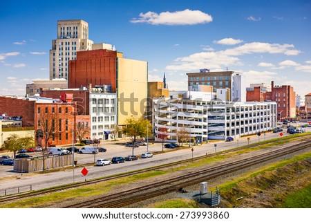 Durham, North Carolina, USA downtown cityscape. - stock photo