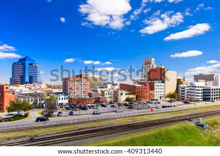 Durham, North Carolina, USA downtown cityscape. - stock photo