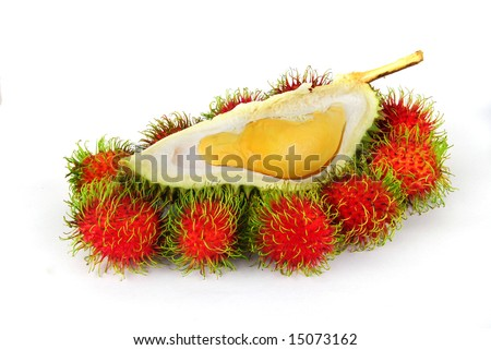 Durian and Rambutans on white background - stock photo