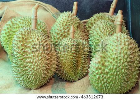 Durian fruit on market ,King of fruit.selective focus.soft focus the field for background.
