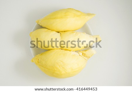 Durian fruits isolated on white background.