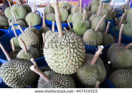 durian in basket prepare export to china, king of fruit