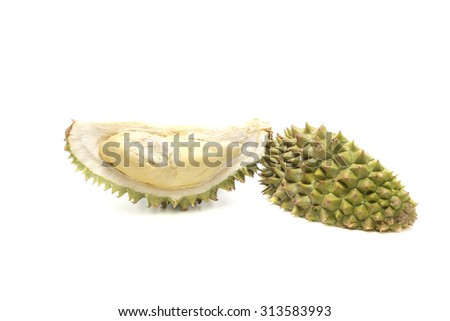 Durian, king of fruit isolated on white