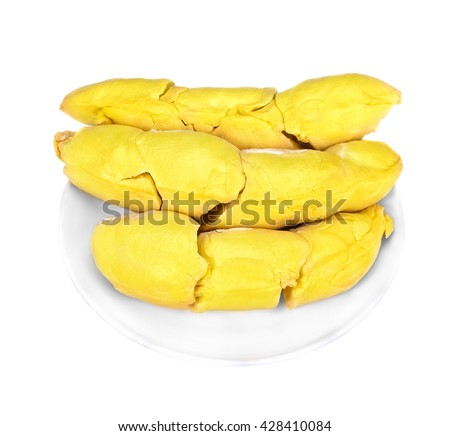 Durian peeled/fruit plate/tropical durian fruit/durian on white /fruit marketing/popular Asia fruit/fruit bowl/fruit plantation/durian for serve/King of fruit /yellow durian of Mon Thong fruit