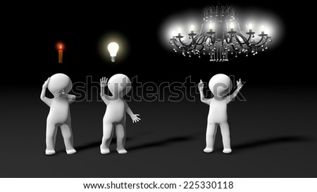 During a brainstorming session, metaphor showing several ideas. Everyone has an idea, from the smallest to the most brilliant. - stock photo