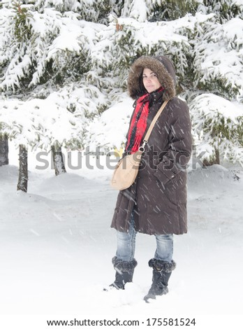 During a snowfall a middle age lady poses for a natural portrait - stock photo