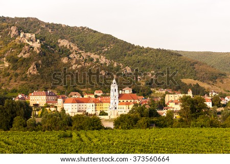 Durnstein and vineyard in Wachau Region, Lower Austria, Austria