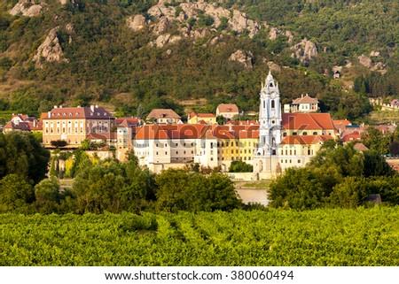 Durnstein and vineyard in Wachau Region, Lower Austria, Austria - stock photo