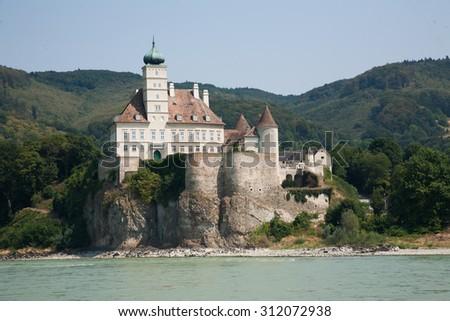 durnstein cruise on the Danube from vienna to merk austria - stock photo