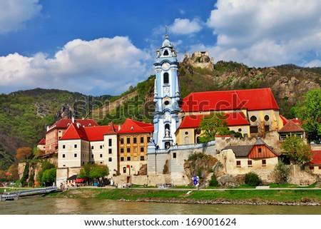 Durnstein near Vienna, lower Austria, pictoial Wachau valley - stock photo