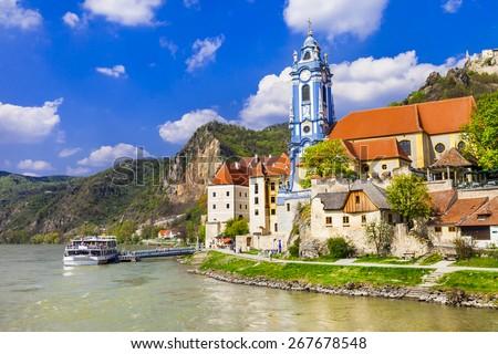 Durnstein near Vienna, lower Austria,  Wachau valley - stock photo