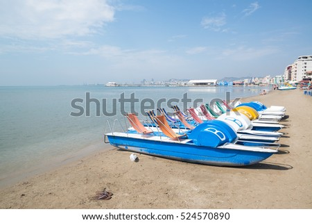 DURRES, ALBANIA - Circa September, 2016: More than 20 km beach strip in the bay of Durres, Albania