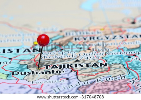 Dushanbe pinned on a map of Asia