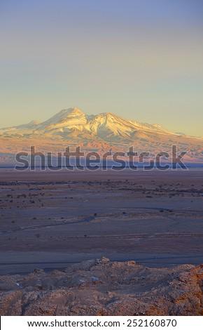 Dusk above Atacama desert, Lascar volcano - stock photo