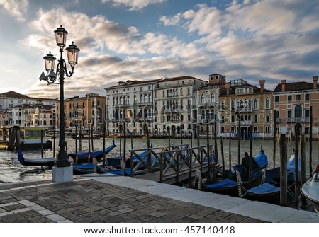 Dusk along a canal in Venice - stock photo