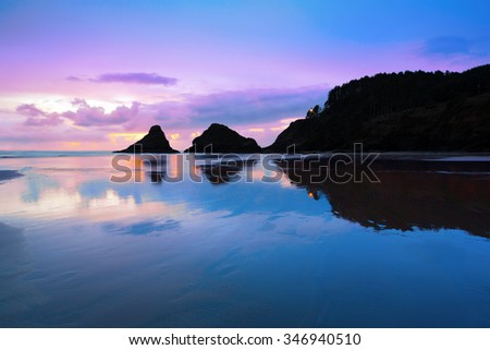 Dusk along the coastline of Heceta Head Lighthouse at Cape Cove Oregon at low-tide with the reflection of the rock formations on the wet, smooth sand. - stock photo