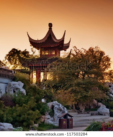 dusk , ancient Chinese architecture in suzhou: garden. - stock photo
