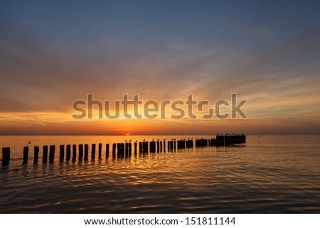 Dusk at the seaside - stock photo